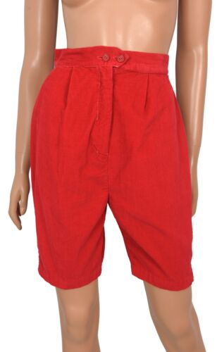 Vintage 50s Sally Togs RED CORDUROY Walking Shorts