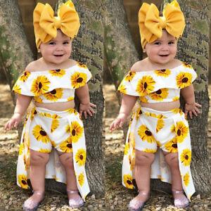 0d1f9f094d USA 3PCS Toddler Kids Baby Girl Sunflower Crop Tops Shorts Dress ...