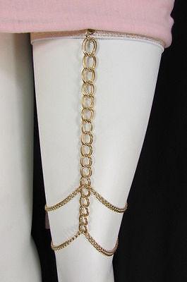 New Women Gold Thigh Leg Chunky Metal Chain Garter Strand Fashion Body Jewelry
