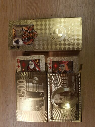 Set di 3 carte in scatola di plastica carte da gioco 24K GOLD PLATED POKER DECK 99.9