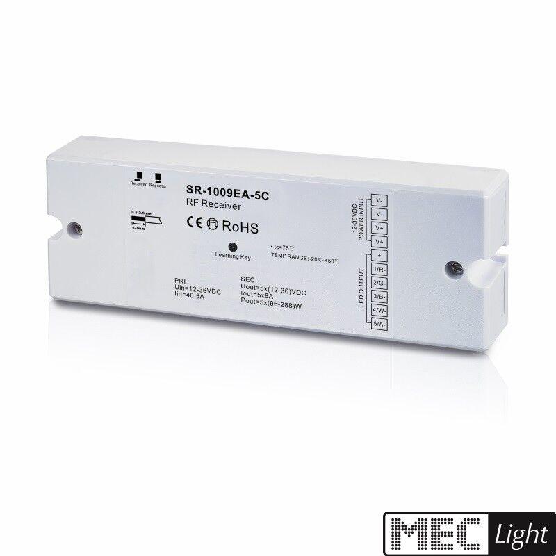 5 canali RF RGB (W) ricevitore LED (sr-1009ea-5c) per 5 zone radio-trasmettitore 12v 5x 8a