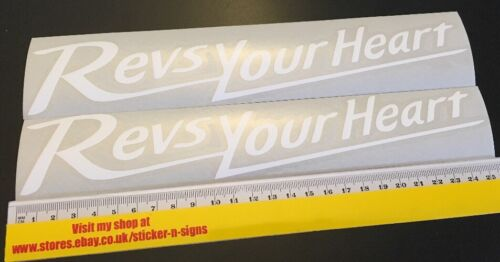 2x White 255mm Stickers Decal Revs Your Heart Suitable For Yamaha Bike