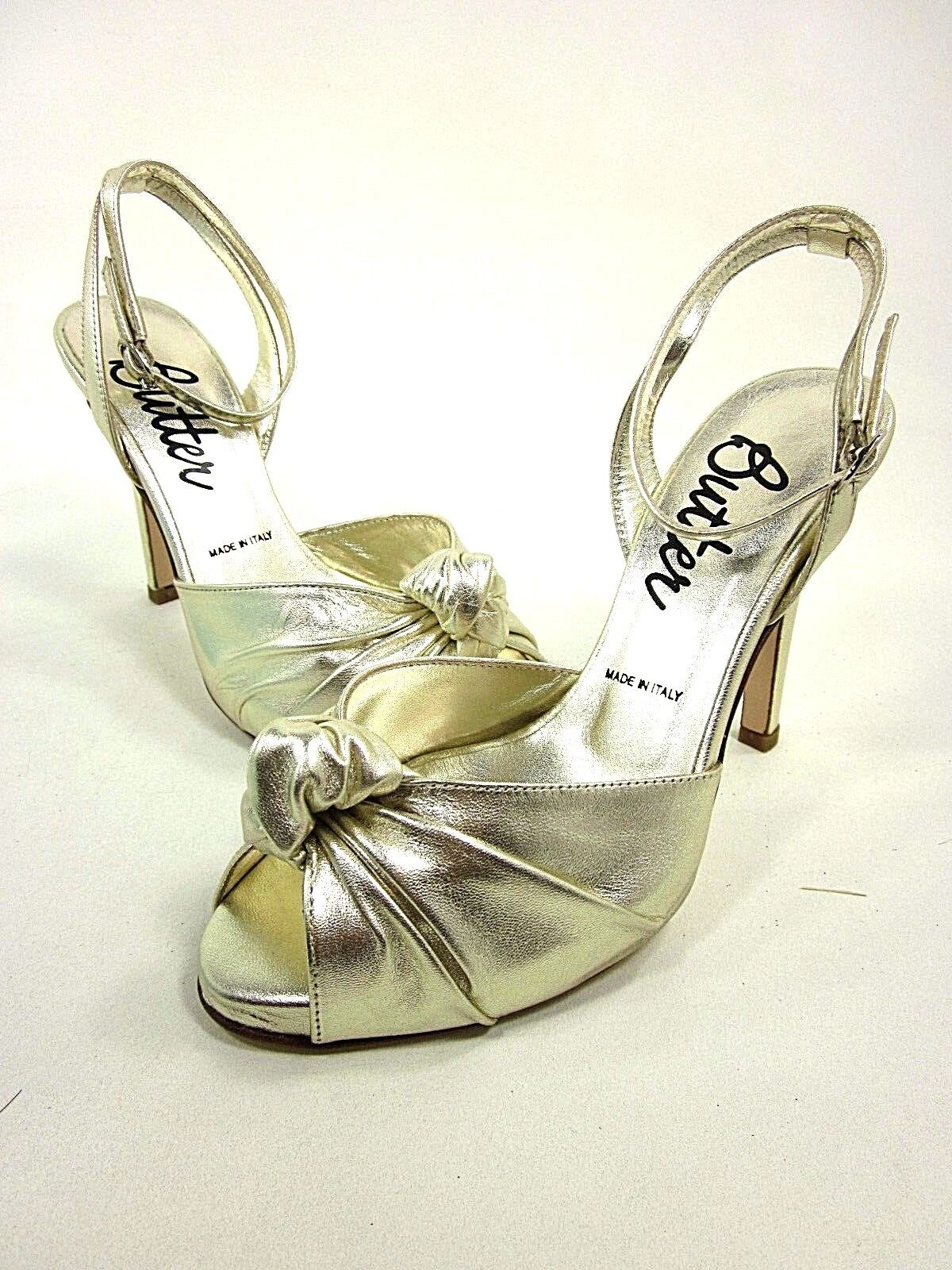 BUTTER, STANLEY ANKLE-STRAP SANDAL, femmes, or METALLIC, US 5M, NEW WITH BOX
