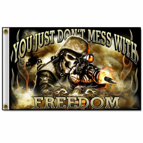Hot Leathers Skull Soldier 3/' x 5/' Flag Patriotic Military