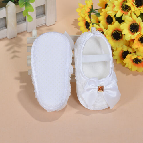 Baby Girls Flower Shoes in White Pink Red Red Lilac 0-3 3-6 6-9 Months