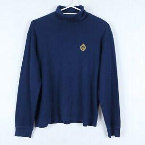 Ralph-Lauren-Femme-Bleu-Vert-Label-a-manches-longues-col-roule-t-shirt-taille-L