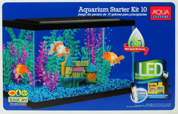 Aquarium Starter Kit Aqua 10 Gallon Desktop LED Light Fish Glass Tank and Filter