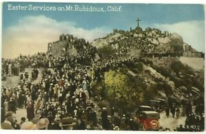 Postcard Riverside CA Easter Services Mount Mt Rubidoux Cars California 1910's