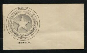 Unused CSA Confederate States Patriotic Cover Arms of Texas & Star Illustration