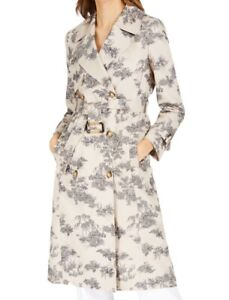 INC Women's Jacket Beige Size Medium M Belted Notch Collar Trench Coat $149 #310