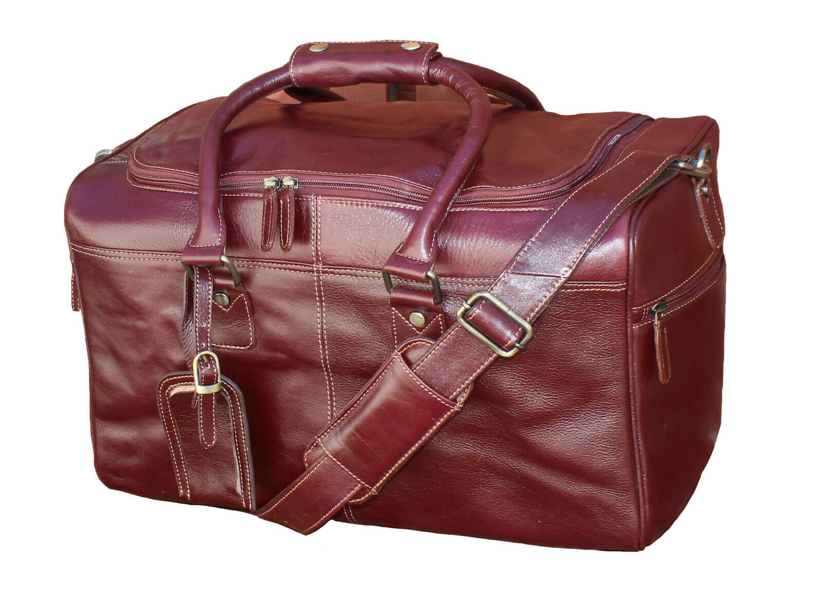Genuine Leather Travel Duffle Holdall Bag