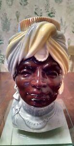 Vintage Royal Copley Blackamoor Head Vase Wall Pocket India Prince Planter