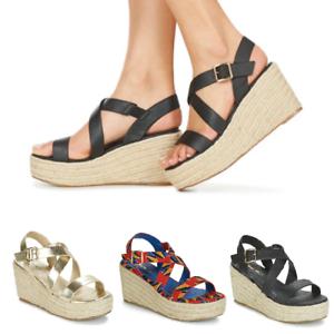 Dettagli su sandali donna con zeppa alta scarpe zeppe plateau corda fasce cinturino caviglia