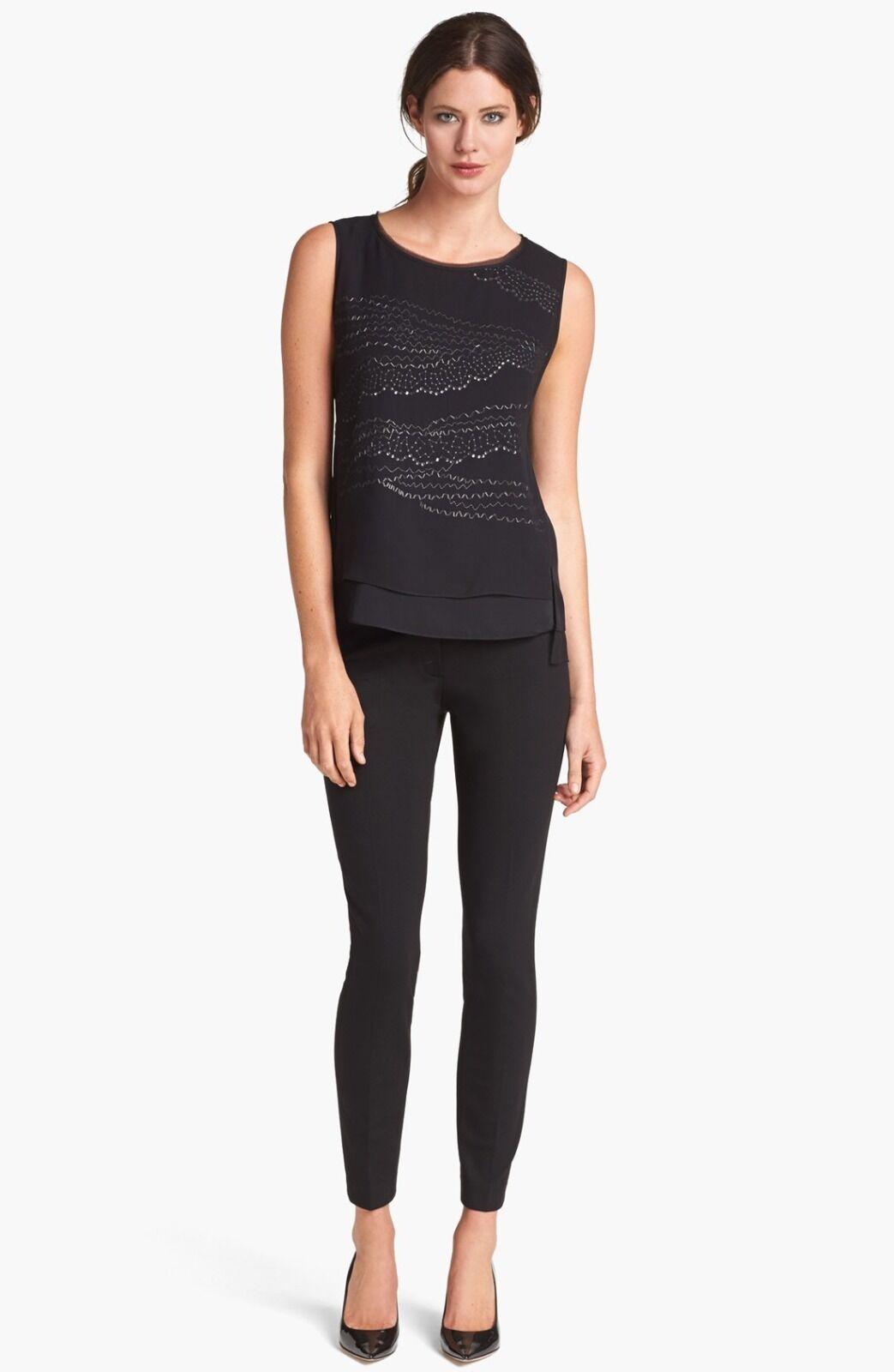 ELIE TAHARI schwarz Silk And Sequin Sleeveless 'Jenna' Blouse Top. NWT X-Small