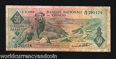 CONGO DR 50 FRANCS P5 1962 LION BRIDGE AFRICA WORLD CURRENCY MONEY BILL  BANKNOTE | eBay