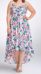 d56f7d7cb72 Torrid Floral Hi-Lo Maxi Tank Dress White Orange Pink 00 Large 10 ...