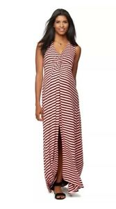 Rachel Zoe For A Pea In The Pod Maxi Dress L Large Maternity Striped Pink Ebay