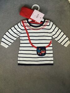M-amp-s-Cotton-Knit-Dress-dans-WHITE-NAVY-with-Red-Patterns-Red-Matching-Tights-Bnwt