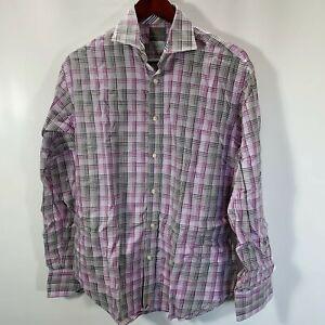 TD-Thomas-Dean-Size-M-Medium-Dress-Shirt-Button-Front-100-Cotton-Plaid-Purple