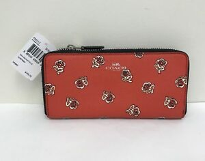 NWT Coach Sienna Rose Print Slim Accordion Zip Wallet F556717 ... 1ec4631c9a