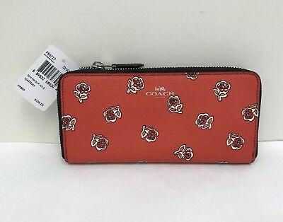 NWT COACH~Watermelon~Sienna Rose Slim Zip Around Wallet F 56717