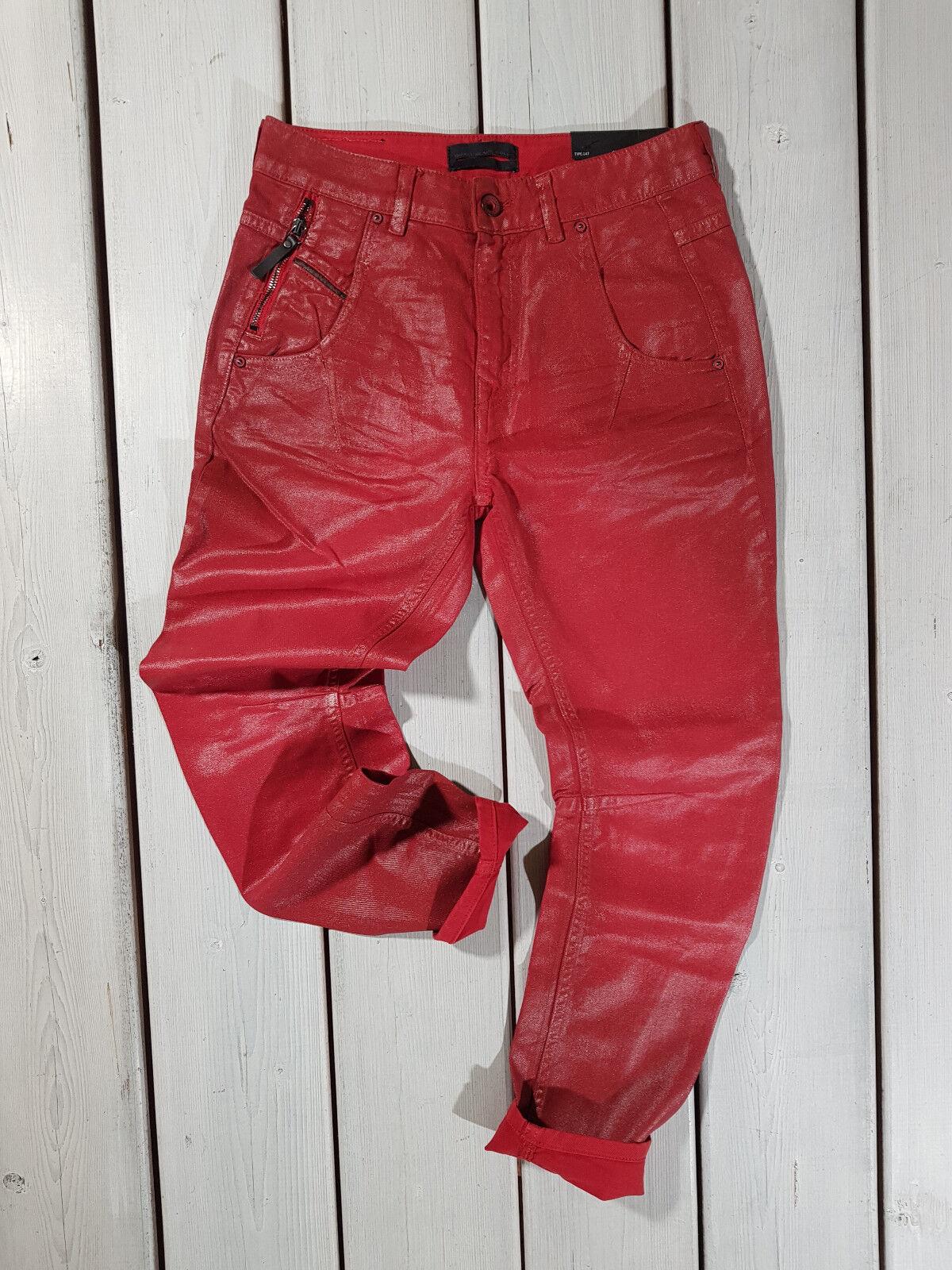 Neu Diesel Schwarz Gold DAMEN Jeans W24 Typ 147 Karotte Rot