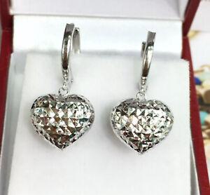 Diamond Heart Hoop Earrings in White Gold