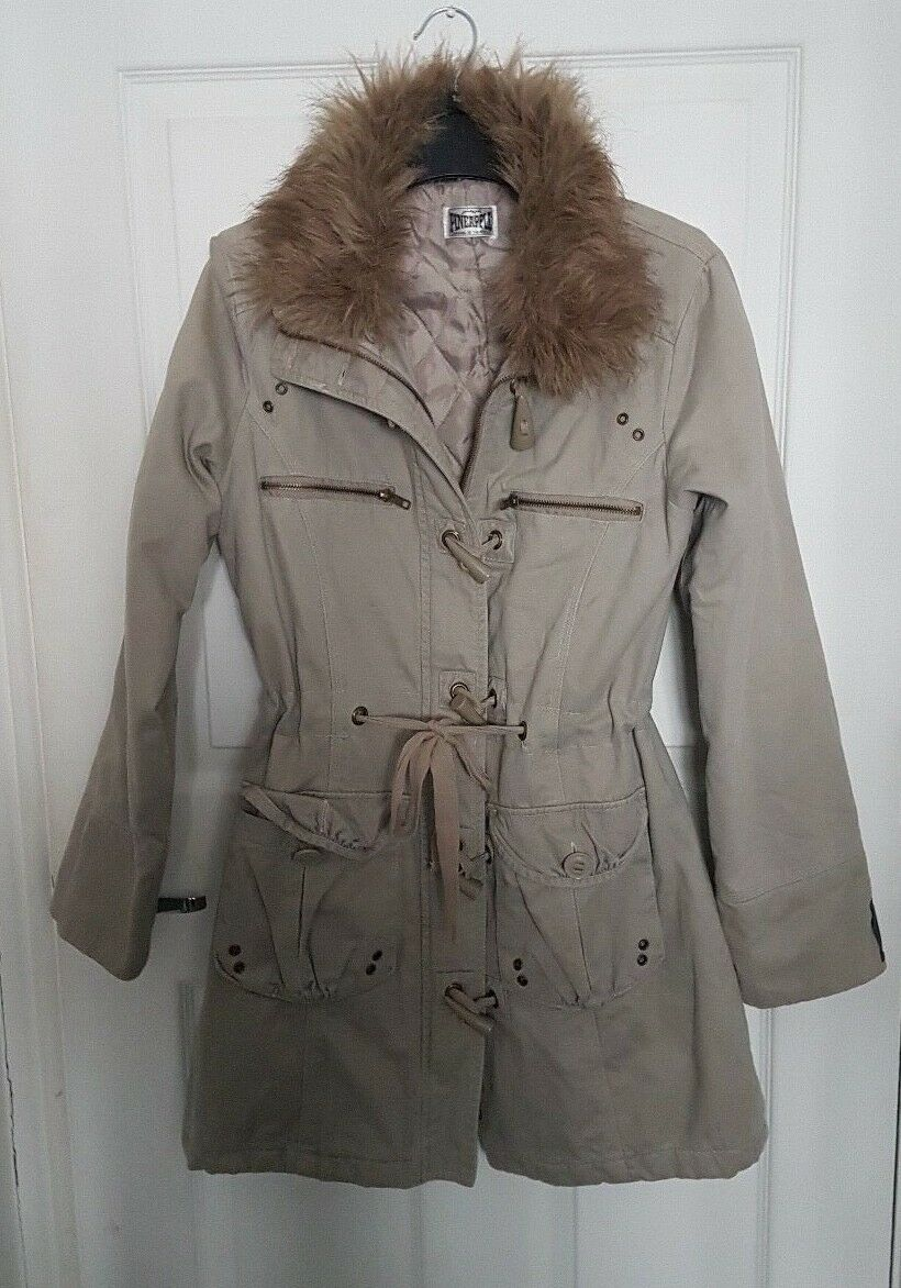 Ladies Faux Fur Collar Coat Pineapple -  Size 12 Beige Lined , Cotton