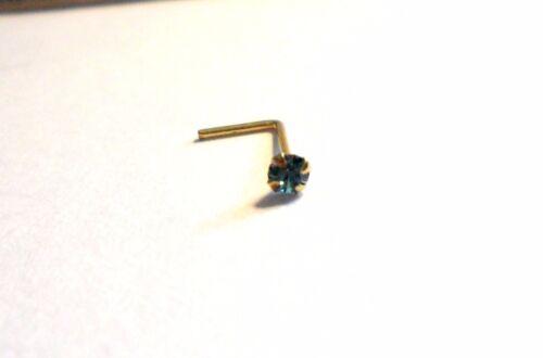 10K Yellow Gold 4 Claw Set Pronged Round Cut Aqua Nose L Shape Stud 22 gauge 22g