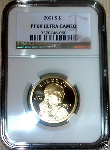 2001 S   NGC PF 69 ULTRA CAMEO   KEY DATE  SACAGAWEA $1