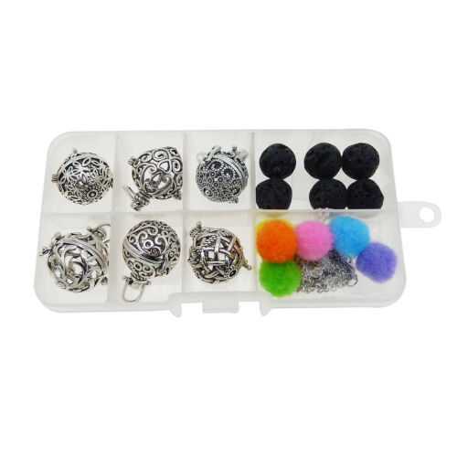 Antique Silver 6 Pcs//Box Mixed Lockets Pearl Cage Pendant Charms with Lava Beads