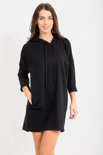Womens Ladies OverSized Baggy Longline Hooded Jumper Sweatshirt Top Dress Hoodie