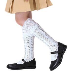 19732198762 Girls fancy Pelerine school knee high socks cotton rich white with ...