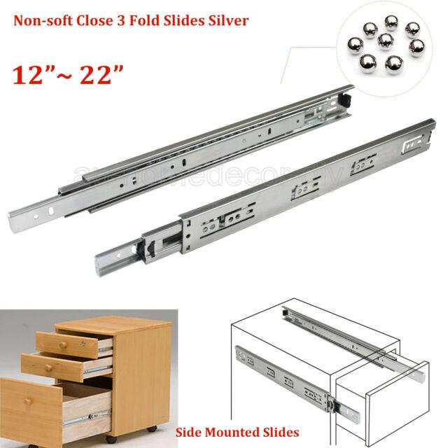 Cabinet Drawer Caravan Slides Runners 3 Fold Full Extention Ball Bearing Silver