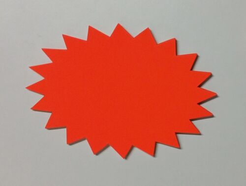 25 Kugel Sterne Preisschilder aus Neon Karton leuchtrot 16 x 23 cm 380g//qm