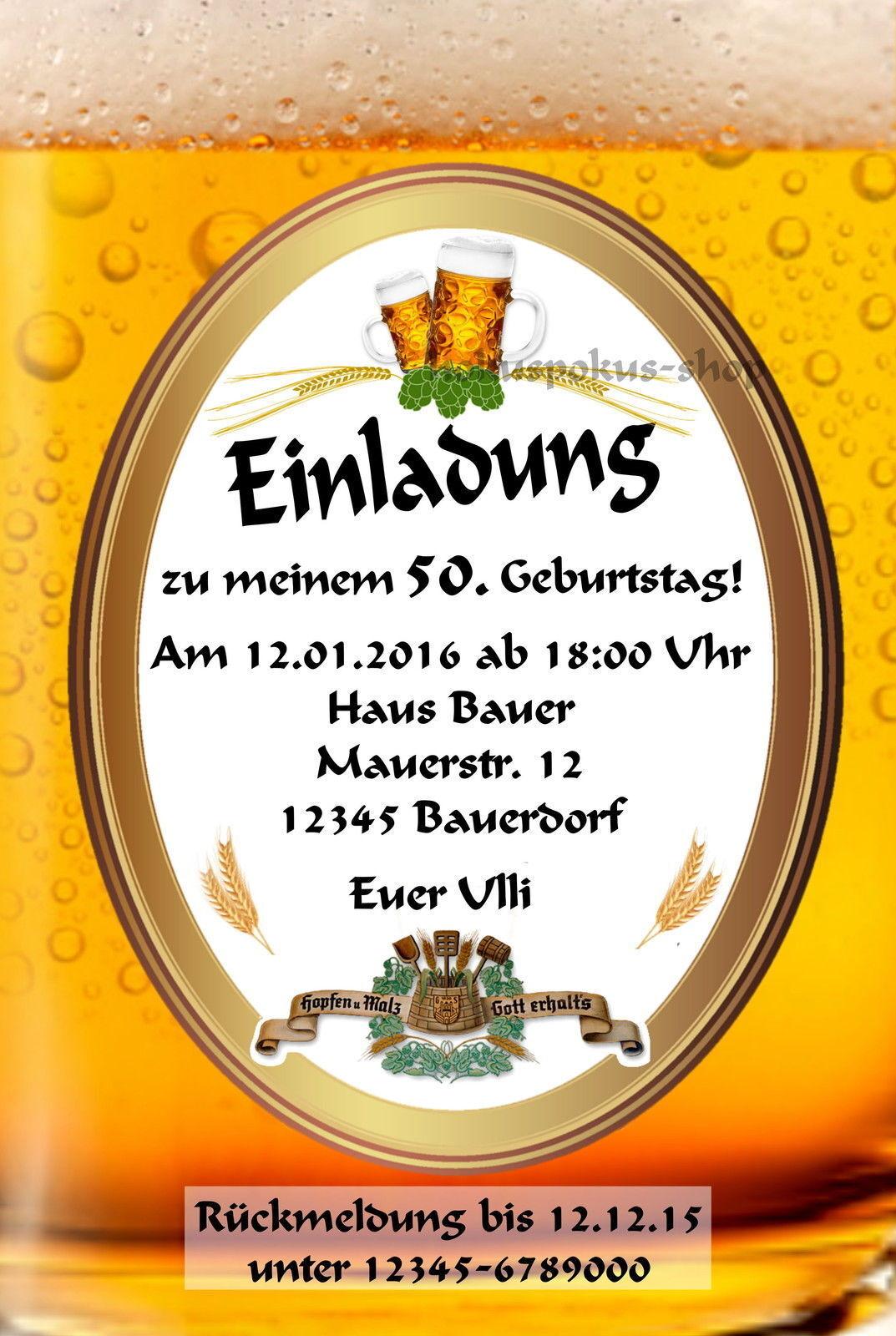 40 Einladungskarten Geburtstag Einladungen Geburtstagseinladungen Bier Party   | Elegante Und Stabile Verpackung  | Ausgezeichnete Qualität