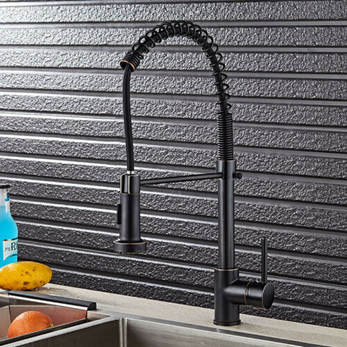 Black Oil Kitchen Sink Mixer Pull Down Swivel Faucet One Handle//Hole Brass Taps