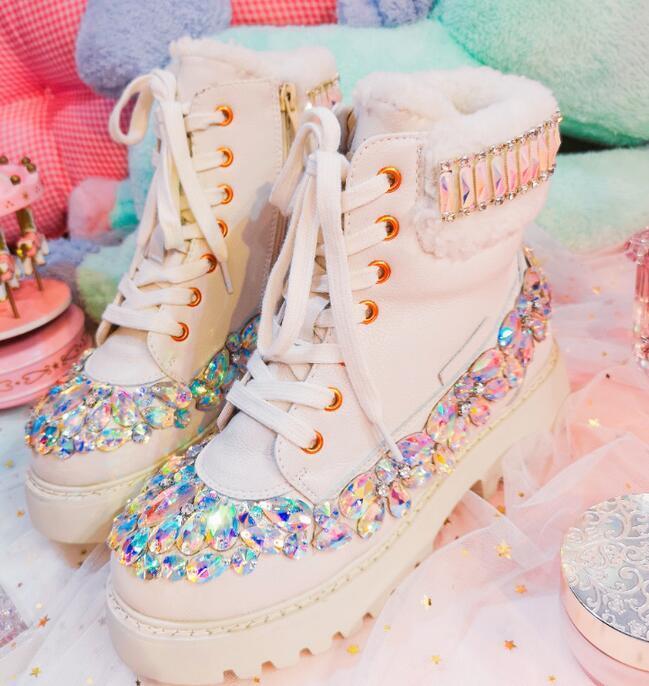 sconti e altro Donna  Rhinestones Bling bianca Round Toe Toe Toe Lace Up Ankle stivali Low Heel scarpe  classico senza tempo