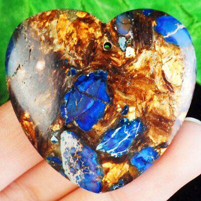 BLUE TURQUOISE /& OR CUIVRE Bornite Coeur Pendentif Perle 42*35*7mm LSJ13