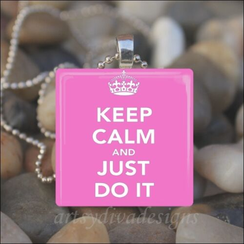 KEEP CALM JUST DO IT MOTIVATIONAL INSPIRATION EXERCISE PENDANT NECKLACE KEYRING