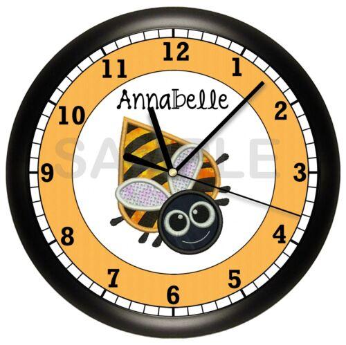 BUMBLE BEE WALL CLOCK PERSONALIZED CLASSROOM KIDS CHILDREN BUZZ YELLOW BLACK