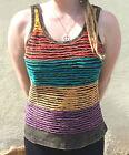 Ladies Stripe Slash Vest Top, Hippy Boho Slash Top, Stonewash Effect Hippie