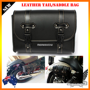 Black-motorcycle-PU-leather-side-saddle-tail-luggage-bag-tool-pouch-Harley-SUZUK