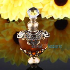 Vintage-Crystal-Butterfly-Metal-Heart-Shaped-Perfume-Bottle-Cut-Glass-Empty-5ml