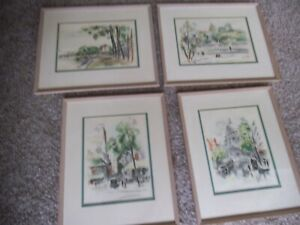 Vntg-original-French-watercolor-paintings-4-signed-framed-Berthold-Mahn-1933