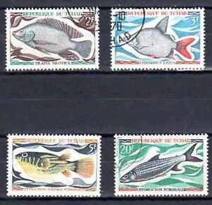 Poissons-Tchad-2-serie-complete-de-4-timbres-obliteres