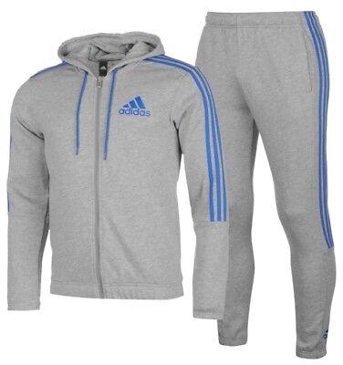 Adidas 3 Stripe Herren Trainingsanzug Tracksuit Jogginganzug Grau Blau | eBay