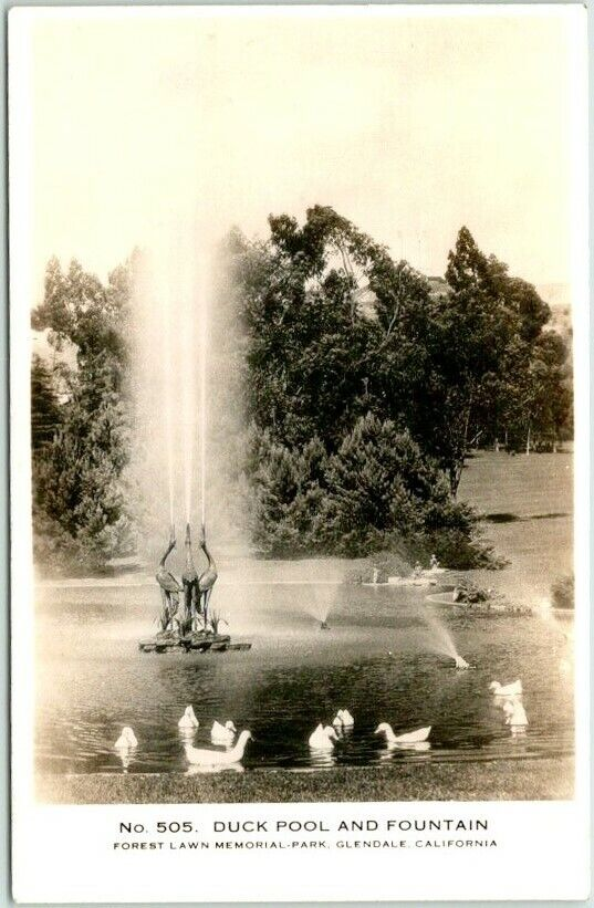 GLENDALE, California RPPC Real Photo Postcard FOREST LAWN CEMETERY Duck Pool