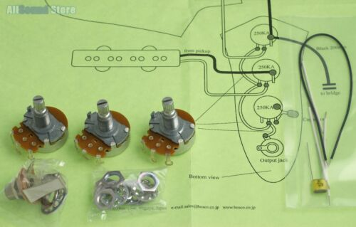 Wiring Kit for Import Fender JAZZ BASS COMPLETE w// Diagram Made in Japan MIJ