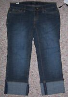 DAISY FUENTES Blue Denim Pretty Hip Cropped Capris Jeans with Cuffs Size 2P NWT